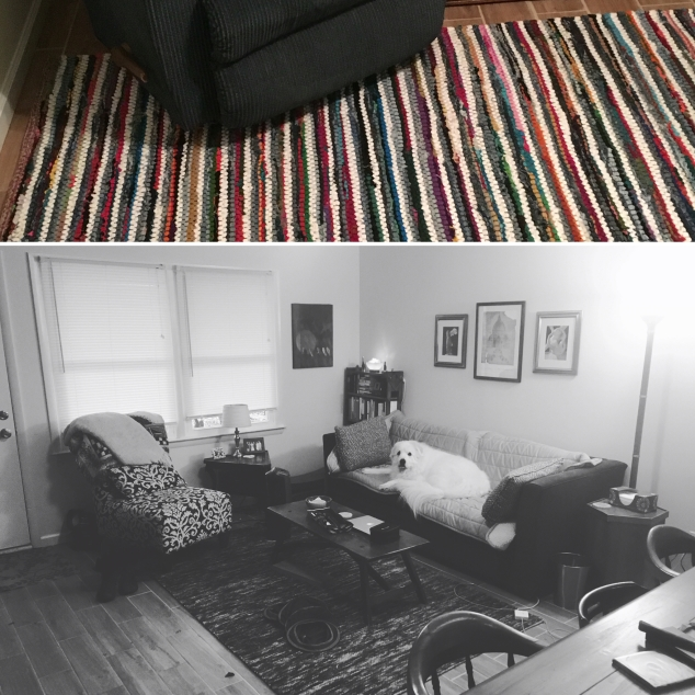 Rug on top and opening up living space + Tonks on bottom | InvitingJoy.net